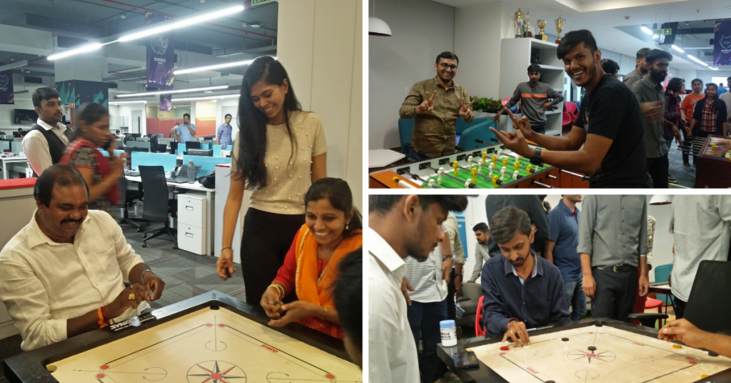 Happiness is playing carrom and Foosball with your colleagues