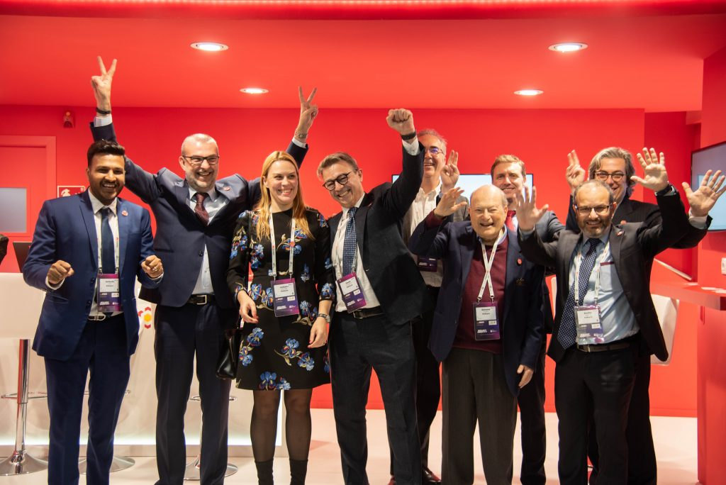 Simone Fubini (front row, second from right) with Kaleyra at MWC Barcelona 2019.