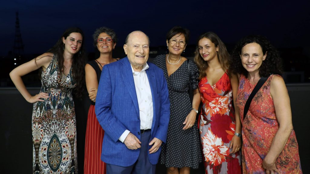Simone Fubini with relatives at the opening of the new Kaleyra office in Milan in July 2019.