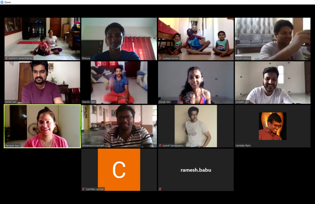 Team Kaleyra in action during our first virtual yoga session